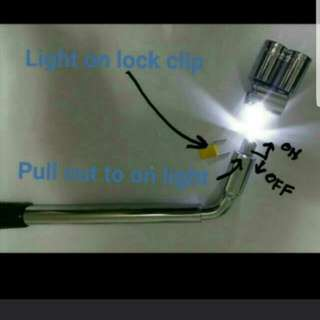 Tire change wrench extend handle and LED light