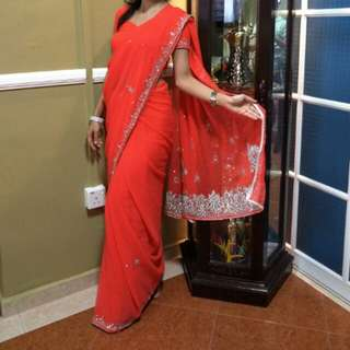 Peachy orangey saree sari used once only blouse size xs skirt is xs eaist 23 to 24