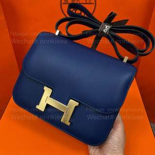 100% Authentic & Brand New Hermes Constance lll 19 73 Bleu saphi/9T Capucine Swift GHW