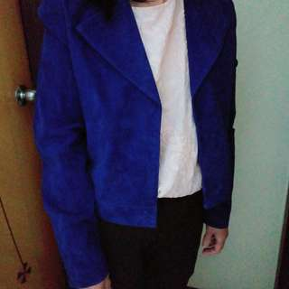 MANGO Real Blue Suede Leather Jacket深藍色真皮褸外套