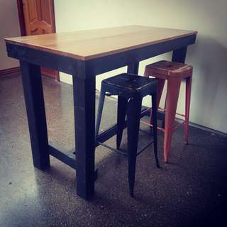 recycled  timber  island  bar  table  bench