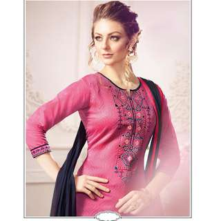 Women's Attractive Looking Patiyala in Pure Chanderi fabric casual suits Pink color good Embroidery , Lace Salwar Kameez FZ 434