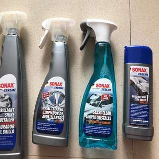 Assorted Sonax Xtreme car wash assessories