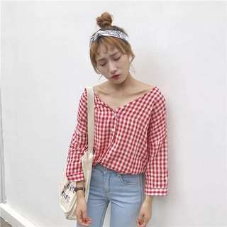 PO | (2 colors) gingham button up long sleeve top