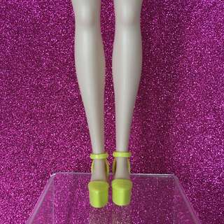 Barbie Doll Shoes (Flat Sole Shoes) - Yellow Front Covered Ankle Strap Shoes