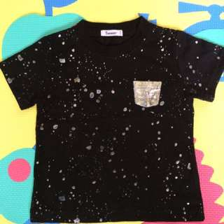 BLACK SHIRT WITH SPARKLE ( up to 18 mos)