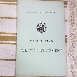 April 1958 colony of Singapore master plan written statement