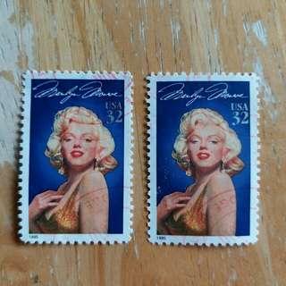 美國郵票影星名星纪念已銷郵票2枚