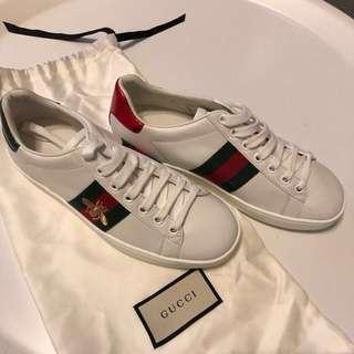 Gucci logo 三色蜜峰白波鞋 白鞋  購自巴黎有單有塵袋100% NEW