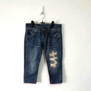 50% 純棉激瘦破損七分牛仔褲