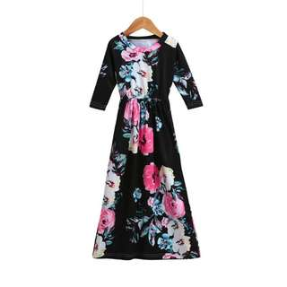 MASSIVE CLEARANCE SALE! Girls Black Floral Maxi Dress