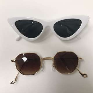 Cat's eye sunglasses white and vintage gold sunglasses