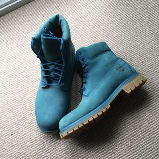 Authentic Teal Timberland 6 Inch Boots