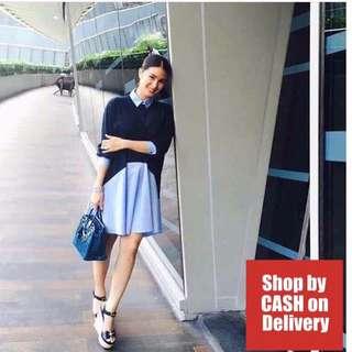Blue long sleeves collar dress