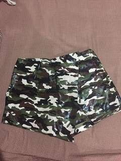 Camouflage leather skort