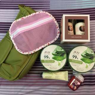 Authentic bundle of skin care products with free pouches