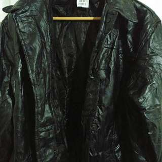 Unisex thick leather coat