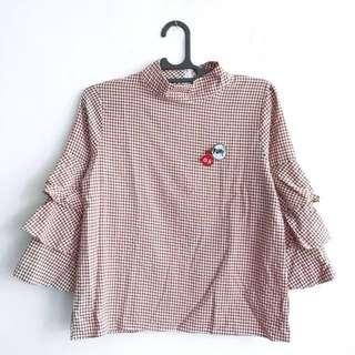 Plaid Patch Tshirt (Lengan Panjang)