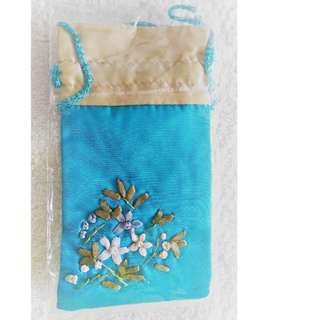 Brand new embroidery floral mofit design small pouch *silky smooth material*