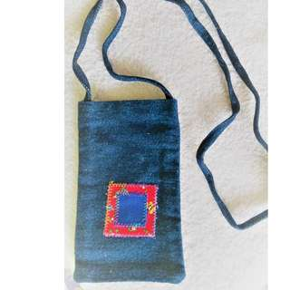 Brand new patch work design demin long-string small pouch