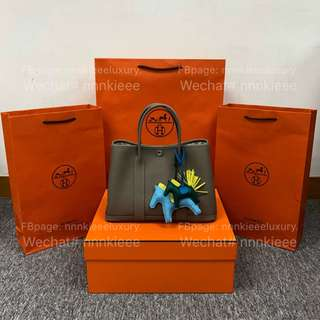 100% Authentic & New Hermes Garden Party 30 M8 Gris Asphalte Country 皮PHW A Stamp