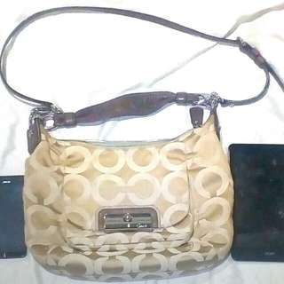 COACH Brown and Beige Monogram tag no M1082-16784 (two way, shoulder/sling)