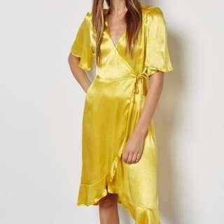 Mango metallic yellow wrap dress