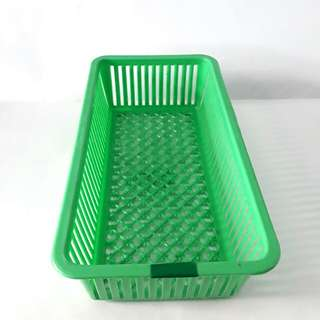 Green small long basket storage bin