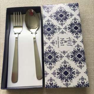 Stainless fork & spoon set in customized box..ideal for wedding favour/doorgift/berkat