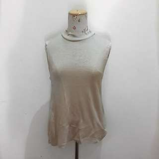 Beige Ribbed Tank with Side Detail