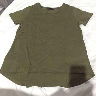 zara top / kaos zara / tshirt polos oblong warna army / kaos hijau gelap
