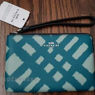 Authentic Coach Printed Corner Zip Wristlet
