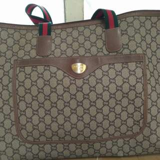 Gucci plus 綠紅綠 古董拖特包