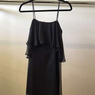 Review Black Ruffle Slip Dress