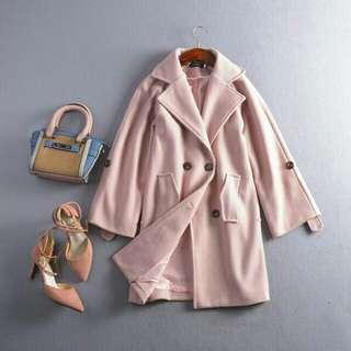 🚚 #拍攝樣品出清 質感毛尼大衣外套 粉色 #超取再7折