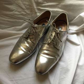 Dries Van Noten Men Aged silver leather shoes