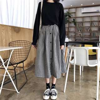Checkered Plaid Buttons Down Designed Korean Style Skirt