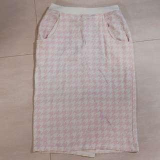 Wego 日本 千鳥格紋粉紅色裙 houndstooth pencil skirt