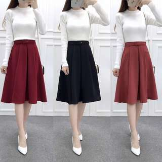 Mono-coloured Korean Style Pleated Designed Belted Skirt