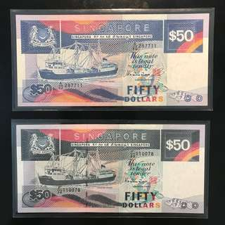 ⭐️ 2 Pcs Lot Ship 🚢 $50! 🚢 1987 & 1984 Singapore 🇸🇬 $50 Ship 🚢 1st Series & 3rd Series, First Series Light Blue With Embedded Security Thread A/42 287711 UNC , Double Digit Number 7711 And 3rd Series Dark Blue AU Condition. 1 Pcs UNC & 1 Pcs AU ⭐️