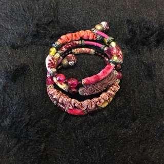 仿古布料珠仔民族bracelet (購自美國)