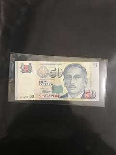 First Prefix! 2004 Singapore 🇸🇬 $50 Portrait LHL Sign, First Prefix 2AA 222122 Almost Solid Number, Just For Sharing