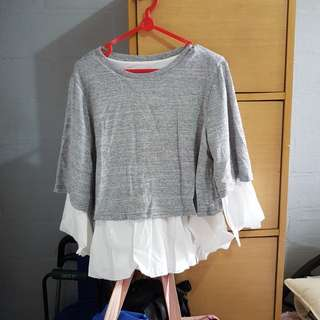 Brand new gray & white trumpet sleeve blouse