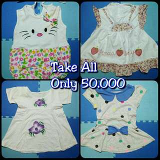 4 Stel Dress anak perempuan 6m-12m