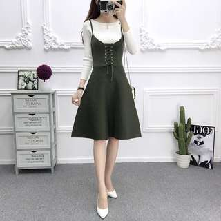 Army Green Coloured Shoelace Tie Designed Camisole Skater Dress