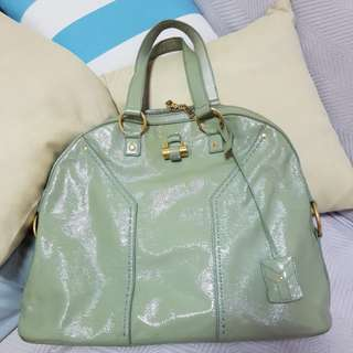 YSL Oversized Muse Patent Leather in Celadon Green