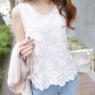 White Coloured Floral Lace Designed Sleeveless Top