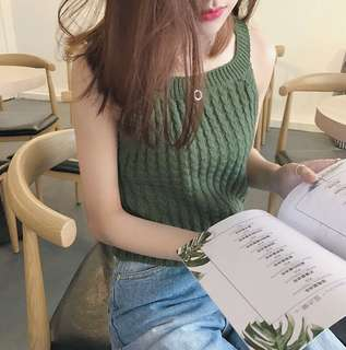 Solid Coloured Korean Style Casual Knitted Top
