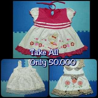 3 Dress anak perempuan 6m-12m
