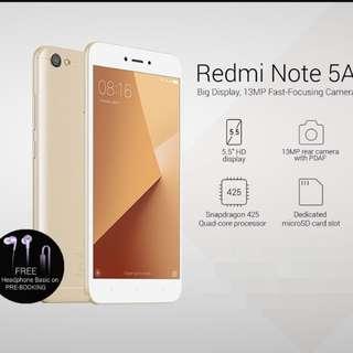 "全新(Brand new Xiaomi 小米 Redmi) 紅米Note 5A, 5.5"" HD display, 2+16G, Global Version. Full set."
